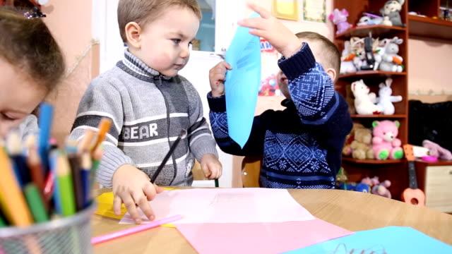 children paint crayons video