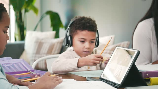 Children participate in virtual learning during COVID-19