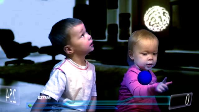 children play hologram computer game video