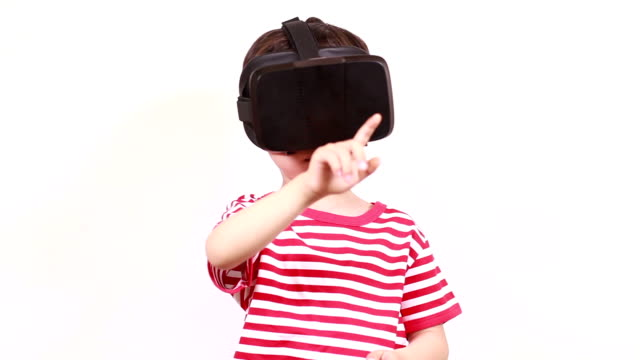 Children play virtual reality simulator video