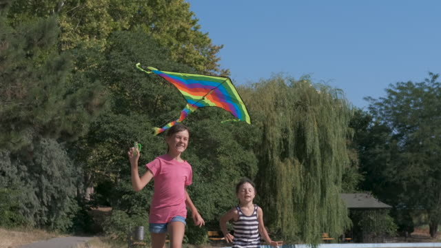 Children play with a kite.