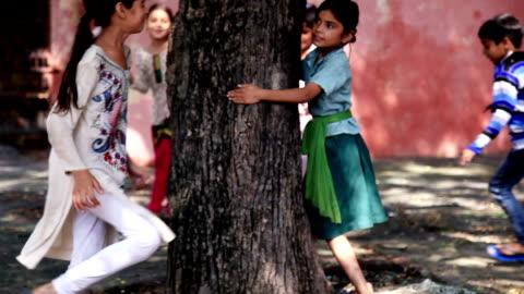 vídeos de stock e filmes b-roll de children playing hide & seek - aldeia