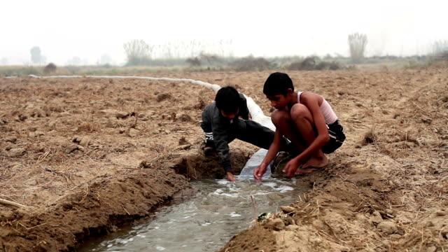 Children playing in wet soil video