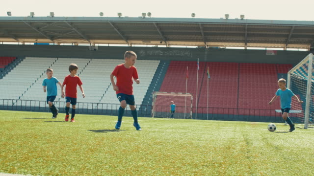 Children playing soccer on arena Little boys training soccer on big stadium, dribbling and making goal goal post stock videos & royalty-free footage