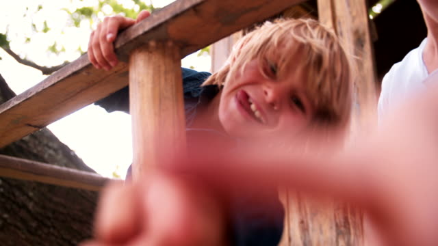Children pointing fingers at camera while in a treehouse video