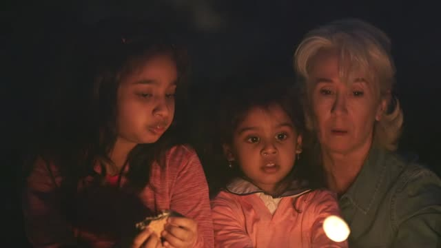 children roasting marshmallows over an open fire Cute little girl learning to roast marshmallows as grandma supervises and her sister enjoys the treat of end result. marshmallow stock videos & royalty-free footage