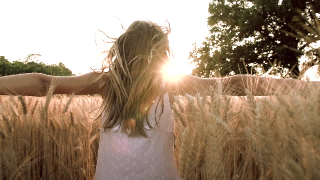 hd super slow-motion: children running in wheat - active lifestyle stock videos and b-roll footage
