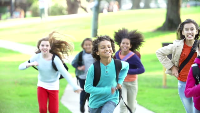 Children Running Towards Camera In Slow Motion video