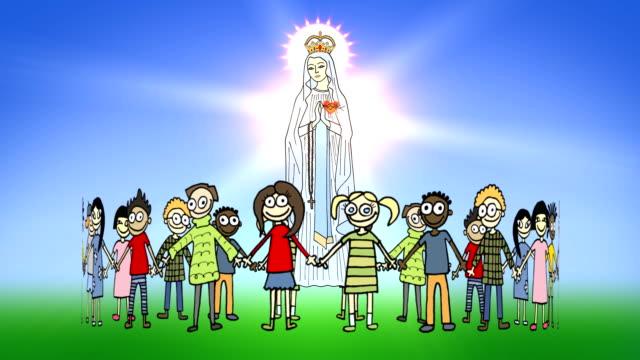 Children standing around a Divine Mother video