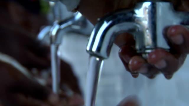 Children washing hands with audio video