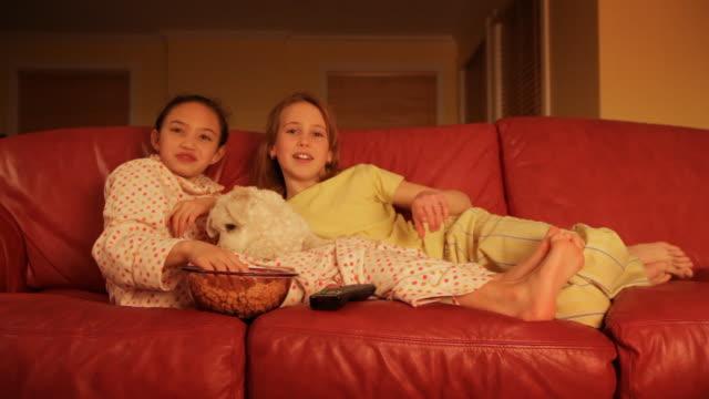 bambini guardando la televisione con animali domestici cane - scalzo video stock e b–roll