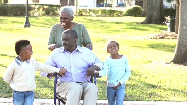 children with grandparents at park, man in wheelchair - nonna e nipote camminare video stock e b–roll