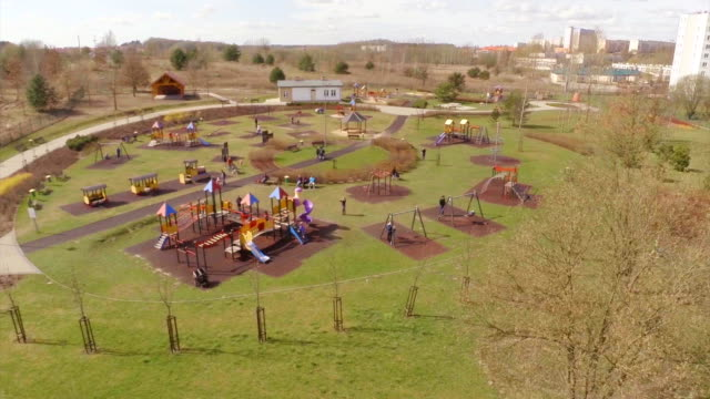 Children's playground aerial shot video