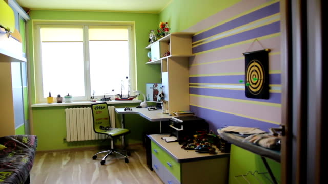 children's room in bright colors. - bedroom video stock e b–roll