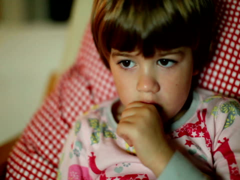 Children's Television: Child Illuminated by Glow from Watching TV video