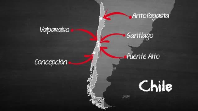 vídeos de stock, filmes e b-roll de mapa do chile - cartografia