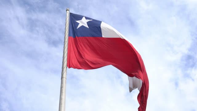 chilean flag on a windy but sunny day - państwo lokalizacja geograficzna filmów i materiałów b-roll