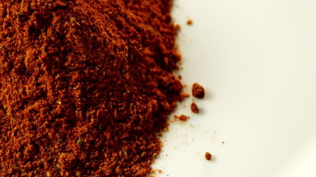 Chili powder in white background 4k video