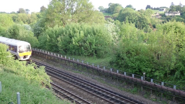 Chiltern Railways train passing by in Hertfordshire countryside video