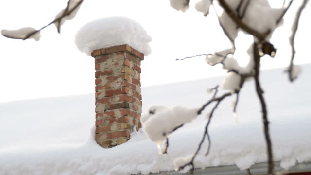 chimney covered with snow - дымоход стоковые видео и кадры b-roll