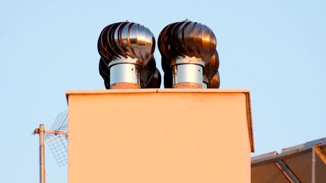 Chimney  ventilator fan system. video