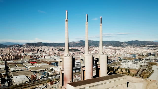 chimneys of neglected power thermal station - centrale termoelettrica video stock e b–roll