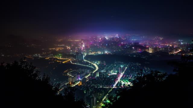 china beautiful night light shenzhen city mountain panorama 4k time lapse video