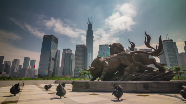 china day light shenzhen famous bull monument city panorama 4k time lapse video