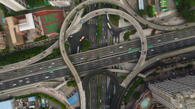 china day time guangzhou cityscape famous traffic road junction aerial top view 4k timelapse - hyperlapse video stock e b–roll