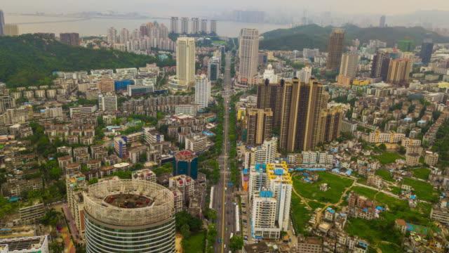 中国日時間珠海都市の景観トラフィック通り空中パノラマ 4 k の時間経過 - 広東省点の映像素材/bロール