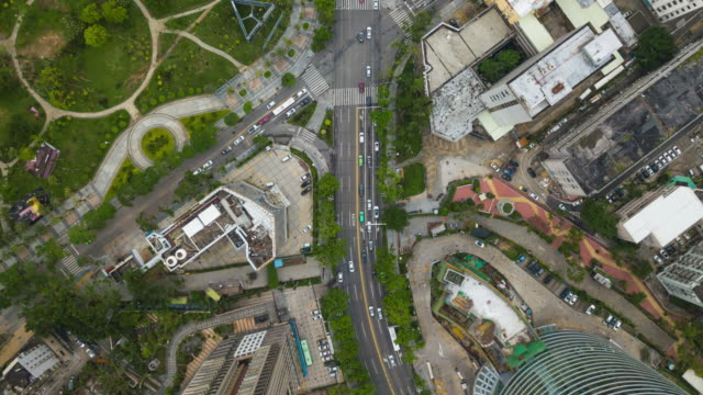 china day time zhuhai cityscape traffic street center down view  aerial panorama 4k time lapse - zhuhai video stock e b–roll