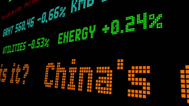 China economic slowdown stock ticker video