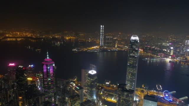 china famous hong kong bay buildings night aerial panorama 4k video