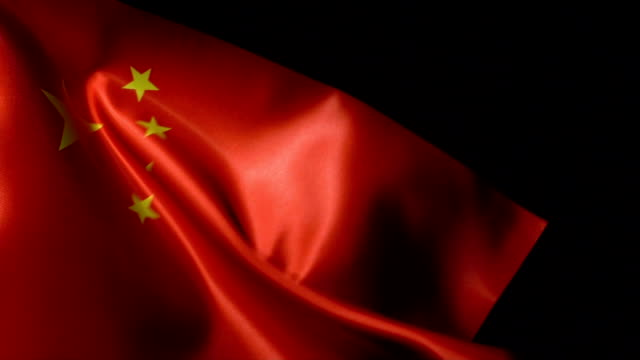 China Flag Flapping Full HD, Slow-Motion, 29.97 frame, Close-Up china east asia stock videos & royalty-free footage
