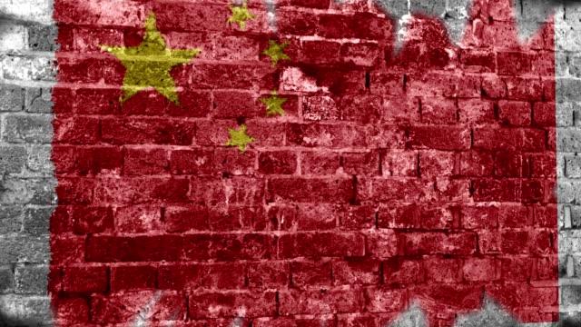 China Flag Grunge Wall. 4k
