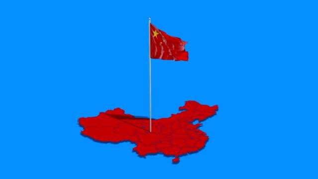 Bandera de China y mapa - vídeo