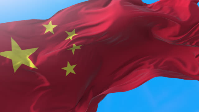 China flag video waving 4K. Realistic chinese background. China background 3840x2160 px