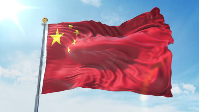 China flag waving in the wind against deep blue sky. National theme, international concept. 3D Render Seamless Loop 4K China flag waving in the wind against deep blue sky. National theme, international concept. 3D Render Seamless Loop 4K allegory painting stock videos & royalty-free footage