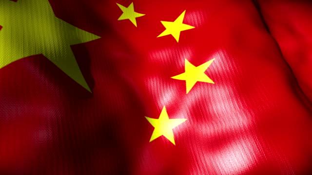 Bandera de China Saludar con la mano; bucle - vídeo