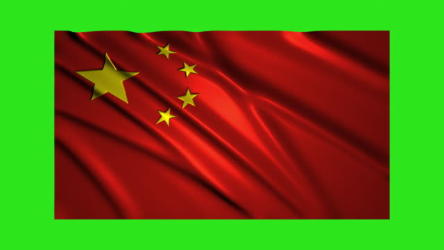 Bandera de China que agita, loopable en pantalla verde - vídeo