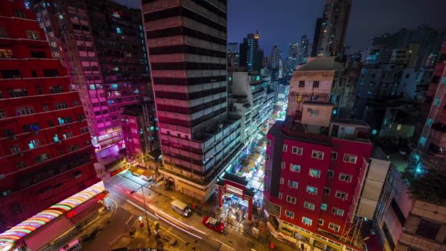 china hong kong city roof top night light street market 4k time lapse video