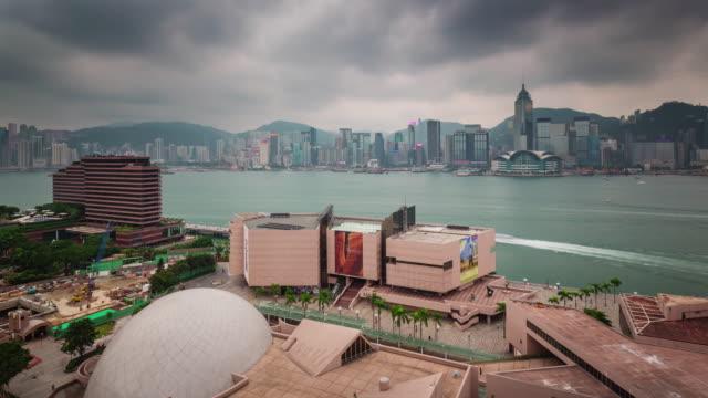 china hong kong day storm  sky city gulf panorama 4k time lapse video