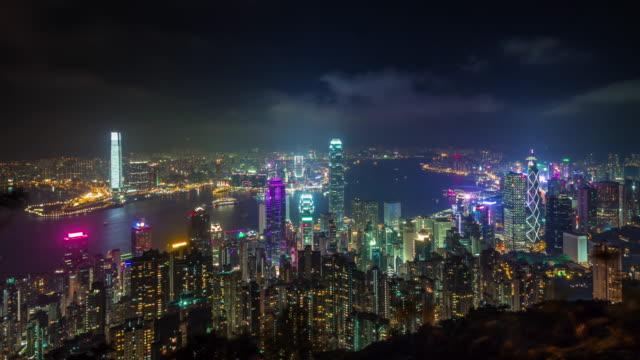 china hong kong high light night city panorama 4k time lapse video