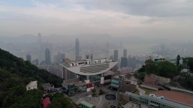 china hong kong peak view point tower construction morning aerial panorama 4k video