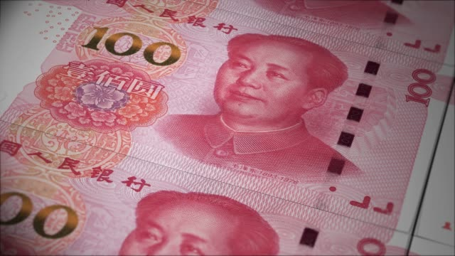 China money Yuan banknotes printing out from money press. Dollar bills loop rolling. China 100 dollars renminbi bank notes printing from money press. chinese culture stock videos & royalty-free footage