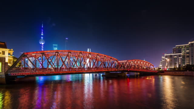 china night illumination shanghai city downtown river bay bridge panorama 4k time lapse video