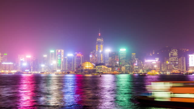 china night light colorful hong kong downtown bay panorama 4k time lapse video