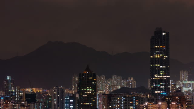 china night light hong kong city mountain panorama 5k time lapse video