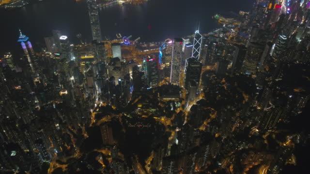 Chine nuit lumière hong kong du centre Baie aerial panorama 4k - Vidéo