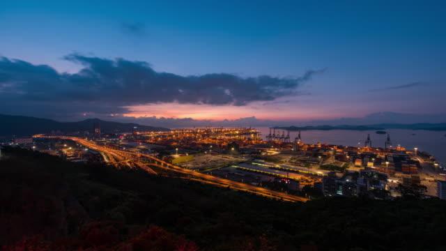 China night light shenzhen city working port panorama 4k time lapse video